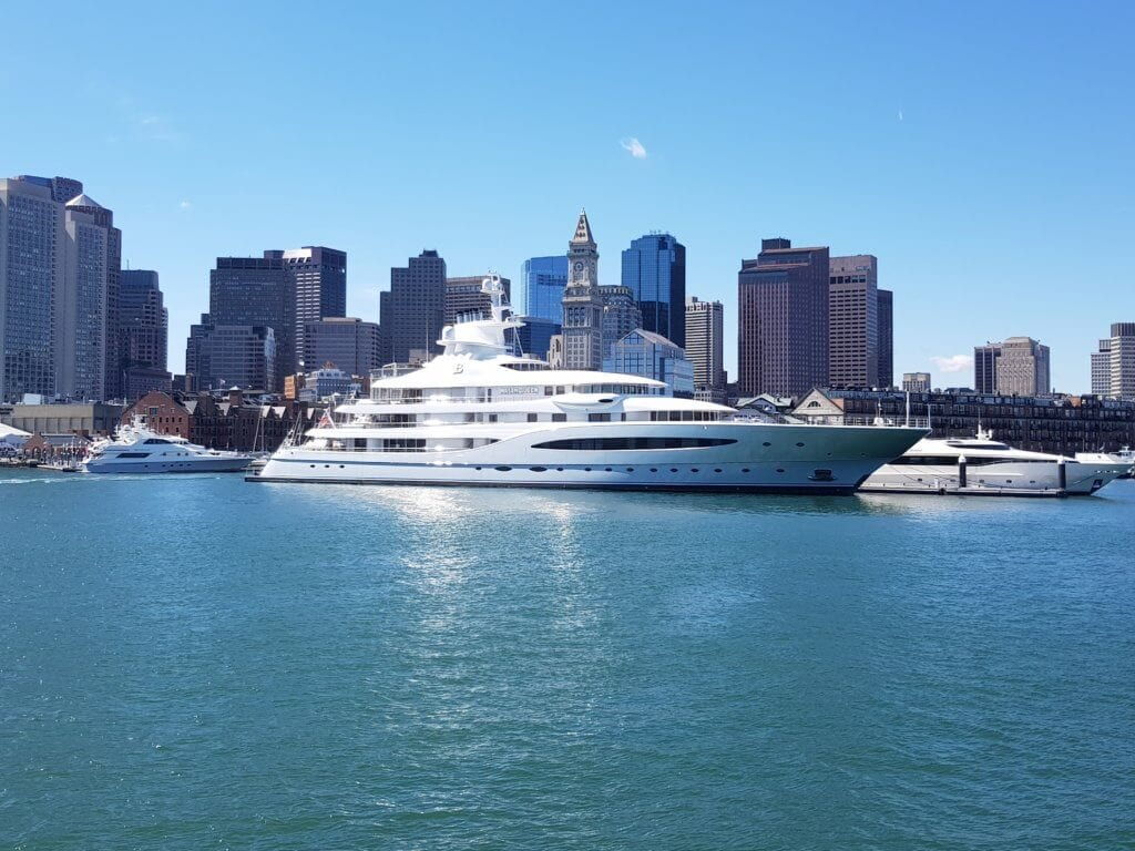super yacht in big city