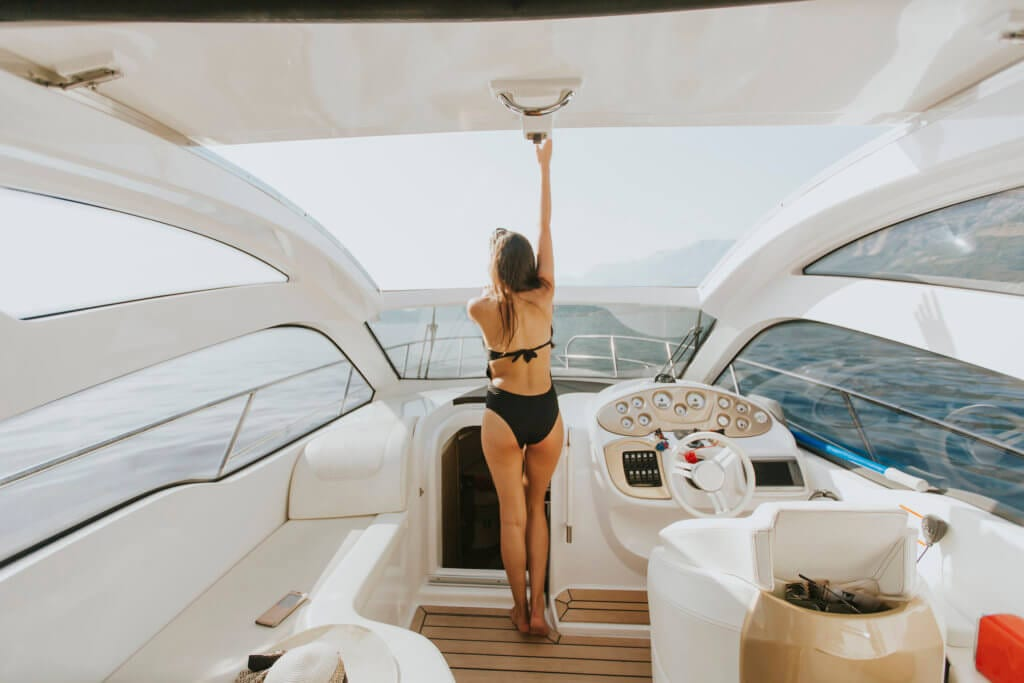 Young woman on the yacht